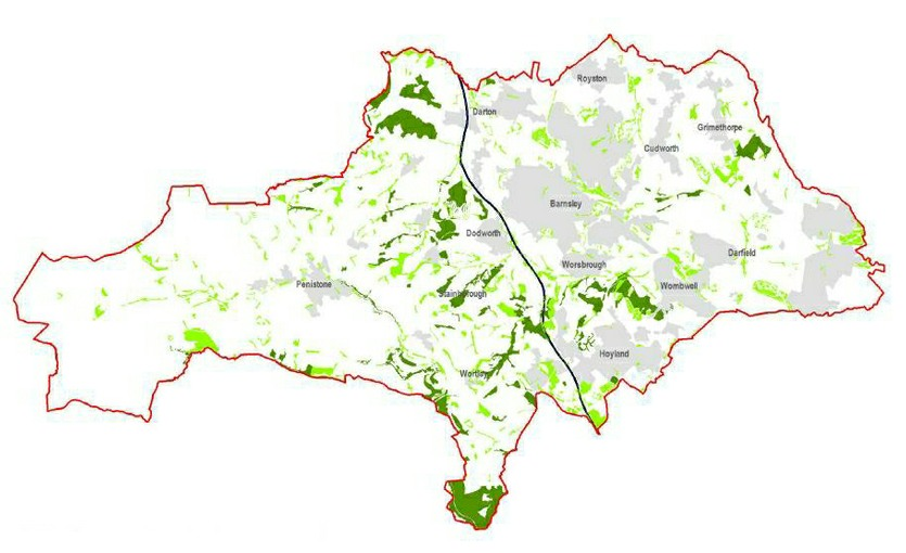 Map showing woodlands in Barnsley